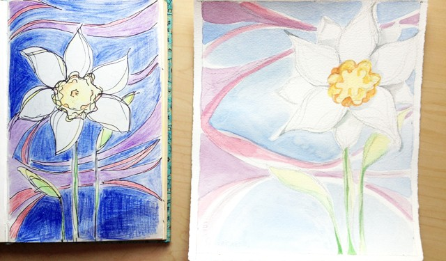 Paintings in progress, surreal flowers from my sketchbook